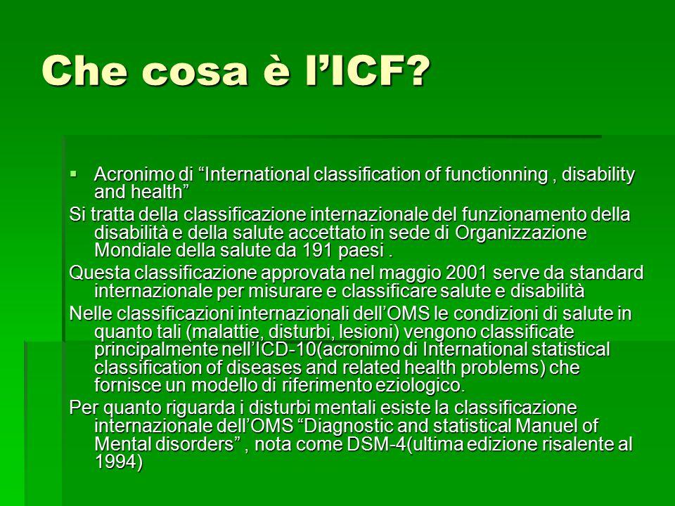 """Che cosa è l'ICF?  Acronimo di """"International classification of functionning, disability and health"""" Si tratta della classificazione internazionale d"""