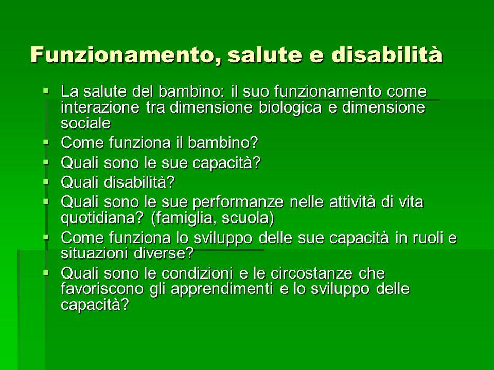 Funzionamento, salute e disabilità  La salute del bambino: il suo funzionamento come interazione tra dimensione biologica e dimensione sociale  Come