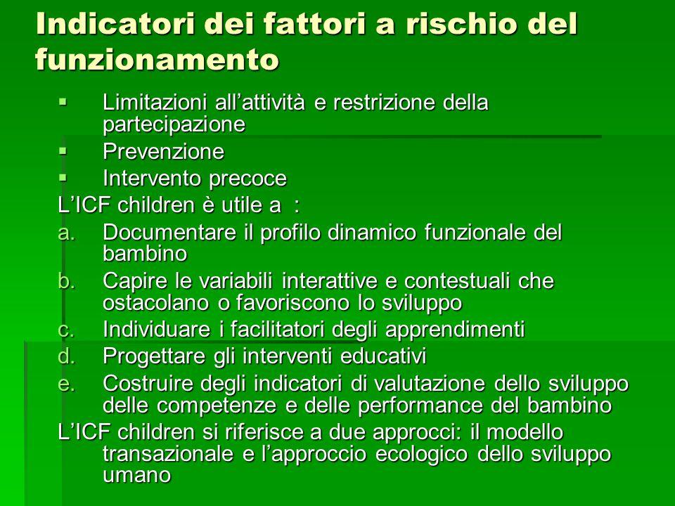 Indicatori dei fattori a rischio del funzionamento  Limitazioni all'attività e restrizione della partecipazione  Prevenzione  Intervento precoce L'