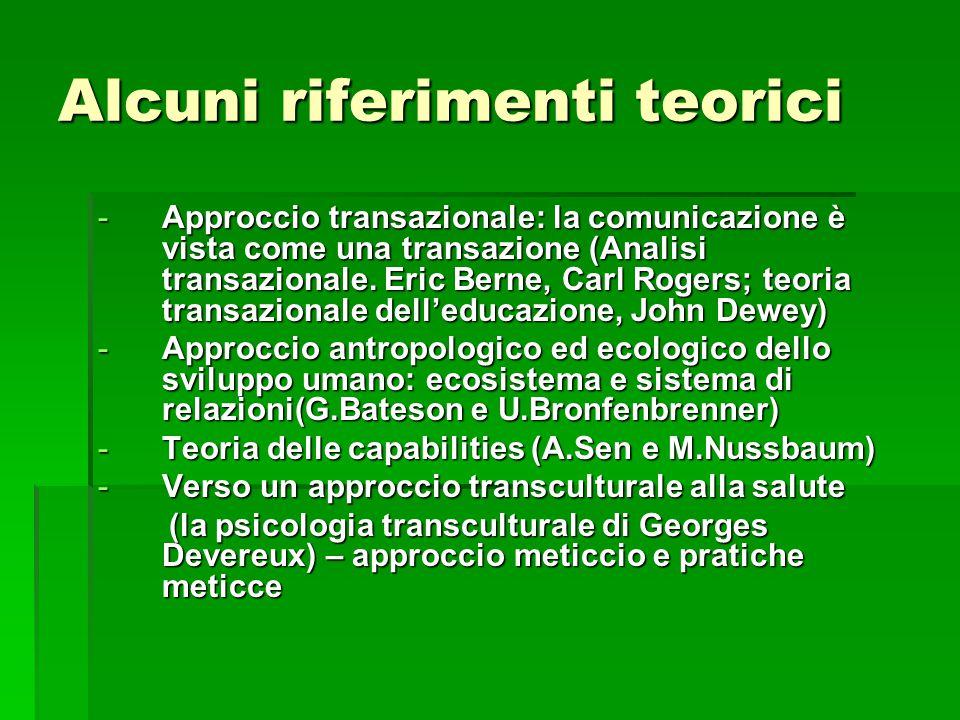 Alcuni riferimenti teorici -Approccio transazionale: la comunicazione è vista come una transazione (Analisi transazionale. Eric Berne, Carl Rogers; te