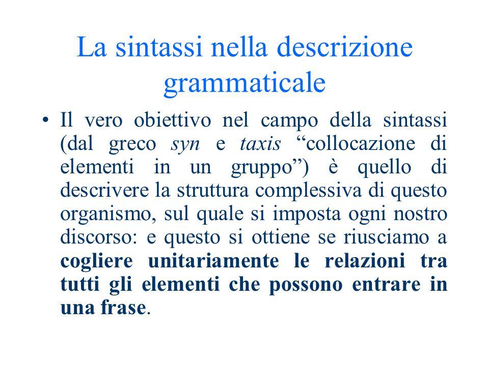Definizione di sintassi La sintassi studia i principi in base ai quali le parole delle varie lingue possono combinarsi in certi modi e non in altri.