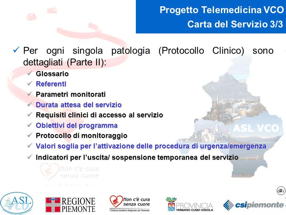 14 Progetto Telemedicina VCO Carta del Servizio 3/3 Per ogni singola patologia (Protocollo Clinico) sono dettagliati (Parte II): Glossario Glossario R