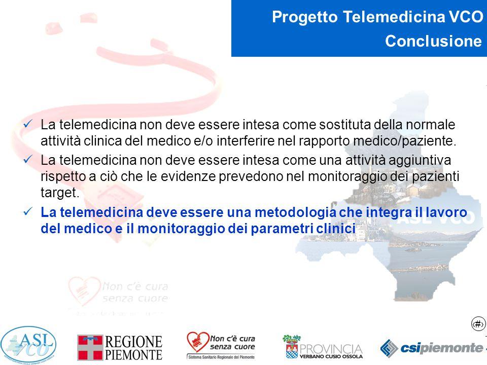 15 Progetto Telemedicina VCO Conclusione La telemedicina non deve essere intesa come sostituta della normale attività clinica del medico e/o interferi