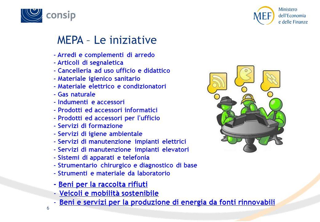 6 MEPA – Le iniziative - Arredi e complementi di arredo - Articoli di segnaletica - Cancelleria ad uso ufficio e didattico - Materiale igienico sanita