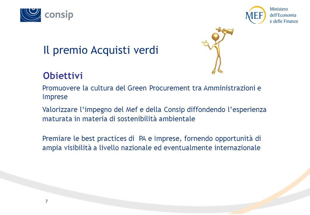 7 Il premio Acquisti verdi Promuovere la cultura del Green Procurement tra Amministrazioni e Imprese Premiare le best practices di PA e Imprese, forne