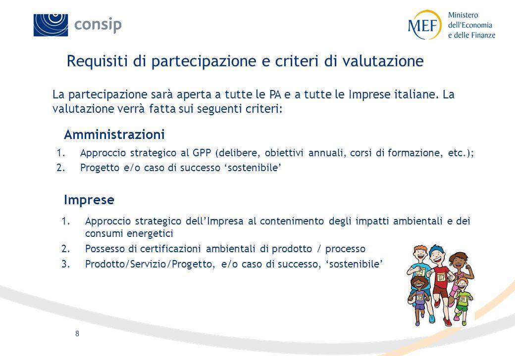 8 Requisiti di partecipazione e criteri di valutazione 1.Approccio strategico al GPP (delibere, obiettivi annuali, corsi di formazione, etc.); 2.Proge