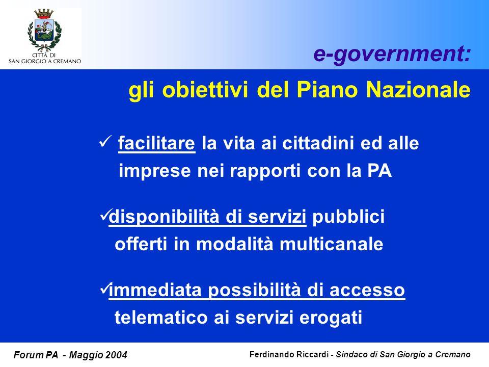 Ferdinando Riccardi - Sindaco di San Giorgio a Cremano Forum PA - Maggio 2004 e-government: La costruzione del sistema implementazione nuove tecnologie adeguamento organizzazione formazione accesso ai finanziamenti