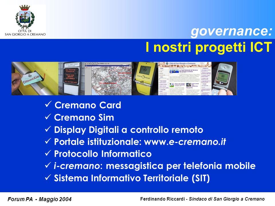 Ferdinando Riccardi - Sindaco di San Giorgio a Cremano Forum PA - Maggio 2004 governance: I nostri progetti ICT Cremano Card Cremano Sim Display Digitali a controllo remoto Portale istituzionale: www.