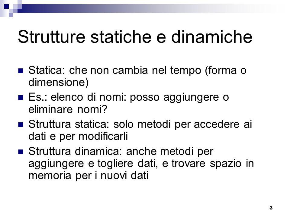 3 Strutture statiche e dinamiche Statica: che non cambia nel tempo (forma o dimensione) Es.: elenco di nomi: posso aggiungere o eliminare nomi.