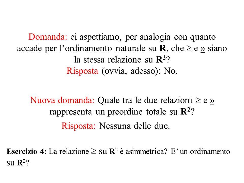Domanda: ci aspettiamo, per analogia con quanto accade per l'ordinamento naturale su R, che  e » siano la stessa relazione su R 2 .