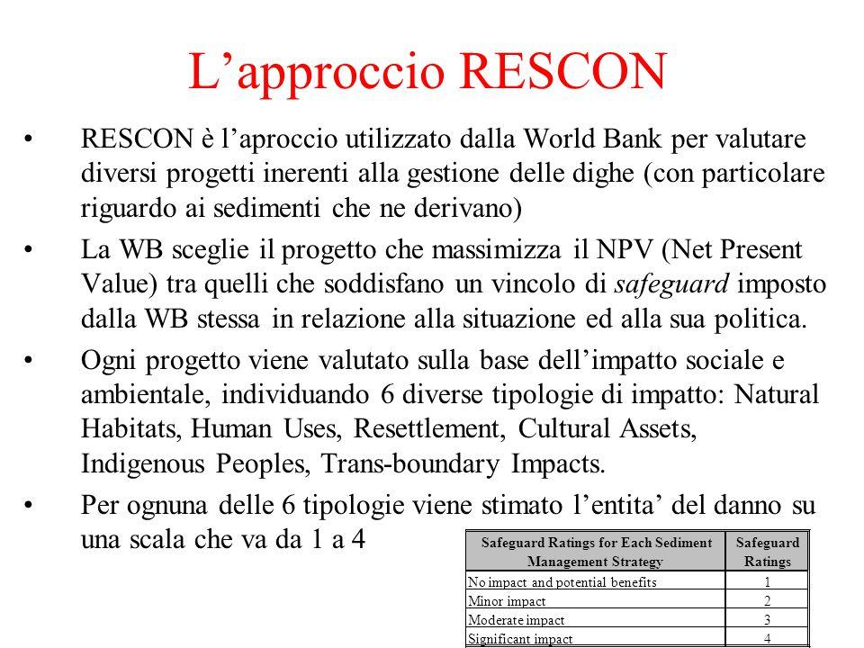 L'approccio RESCON RESCON è l'aproccio utilizzato dalla World Bank per valutare diversi progetti inerenti alla gestione delle dighe (con particolare riguardo ai sedimenti che ne derivano) La WB sceglie il progetto che massimizza il NPV (Net Present Value) tra quelli che soddisfano un vincolo di safeguard imposto dalla WB stessa in relazione alla situazione ed alla sua politica.