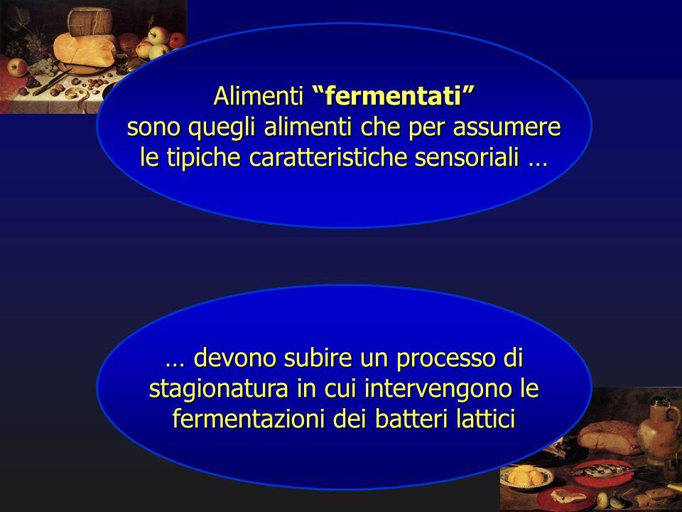 """Alimenti """"fermentati"""" sono quegli alimenti che per assumere le tipiche caratteristiche sensoriali … … devono subire un processo di stagionatura in cui"""