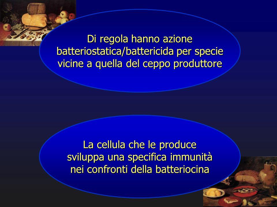 Di regola hanno azione batteriostatica/battericida per specie vicine a quella del ceppo produttore La cellula che le produce sviluppa una specifica im