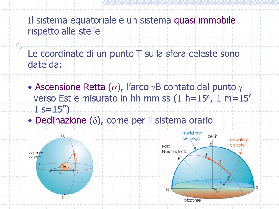 Il sistema equatoriale è un sistema quasi immobile rispetto alle stelle Le coordinate di un punto T sulla sfera celeste sono date da: Ascensione Retta (  ), l'arco  B contato dal punto  verso Est e misurato in hh mm ss (1 h=15 o, 1 m=15' 1 s=15 ) Declinazione (  ), come per il sistema orario