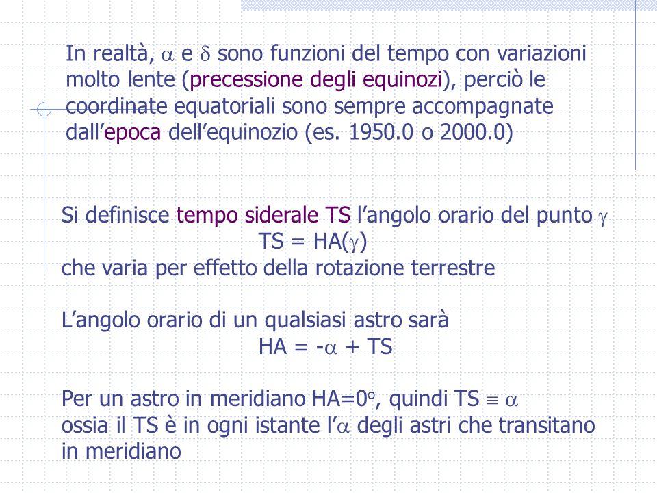 In realtà,  e  sono funzioni del tempo con variazioni molto lente (precessione degli equinozi), perciò le coordinate equatoriali sono sempre accompagnate dall'epoca dell'equinozio (es.