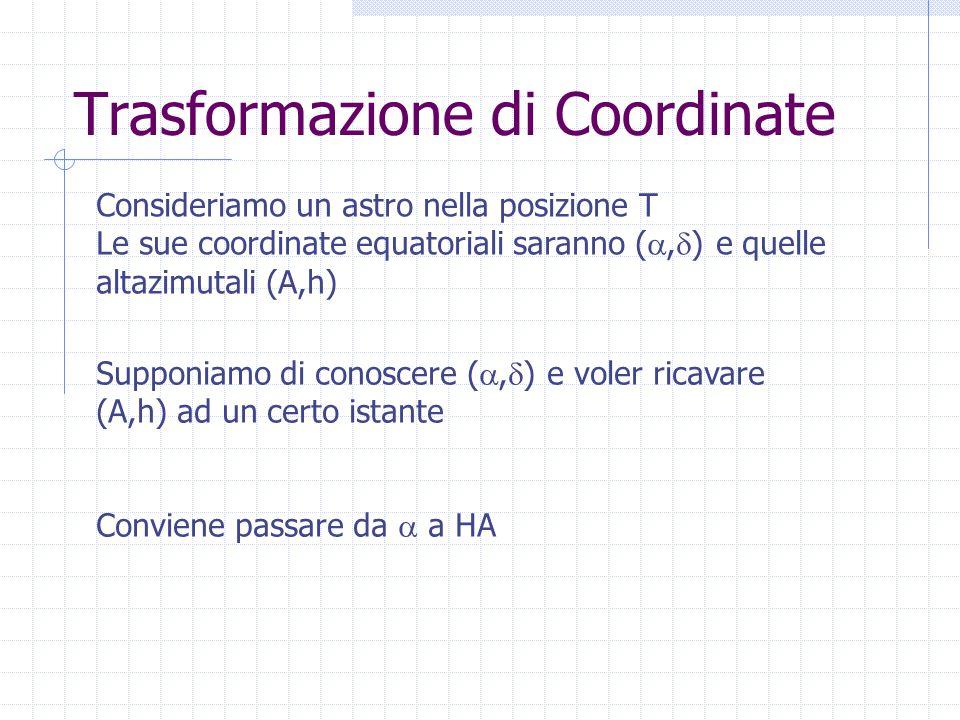 Trasformazione di Coordinate Consideriamo un astro nella posizione T Le sue coordinate equatoriali saranno ( ,  ) e quelle altazimutali (A,h) Supponiamo di conoscere ( ,  ) e voler ricavare (A,h) ad un certo istante Conviene passare da  a HA