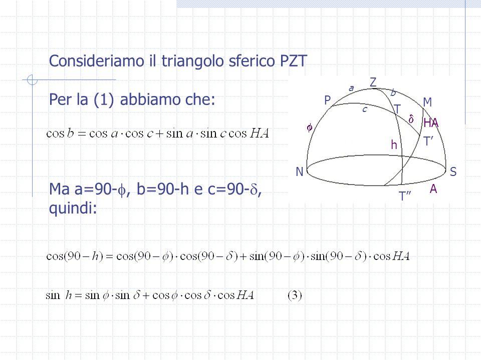 Consideriamo il triangolo sferico PZT Per la (1) abbiamo che: Ma a=90- , b=90-h e c=90- , quindi: Z P T M T' T SN A h HA  a b c 