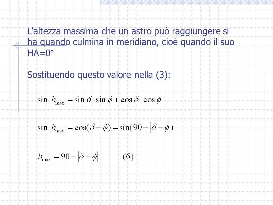 L'altezza massima che un astro può raggiungere si ha quando culmina in meridiano, cioè quando il suo HA=0 o Sostituendo questo valore nella (3):