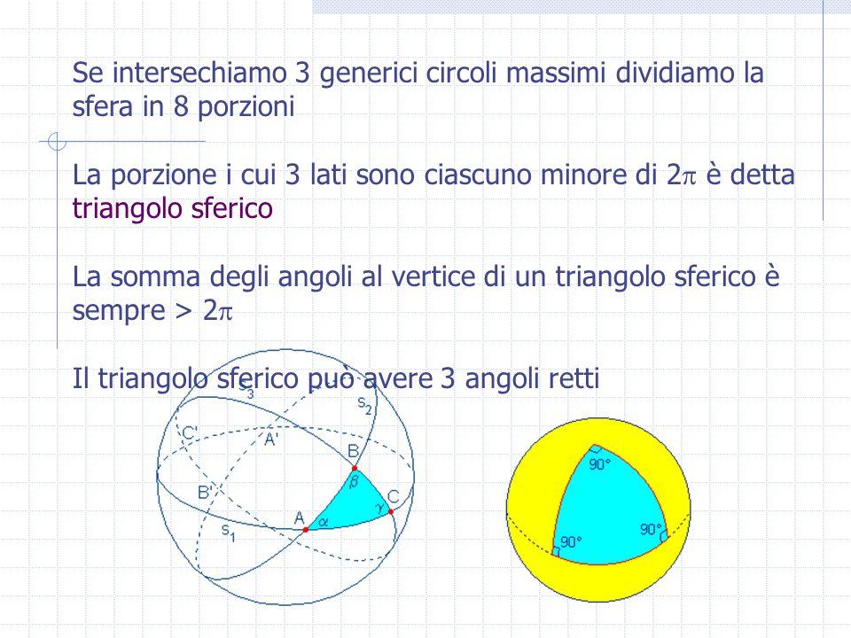 Relazioni di Gauss per triangoli sferici: a b c   