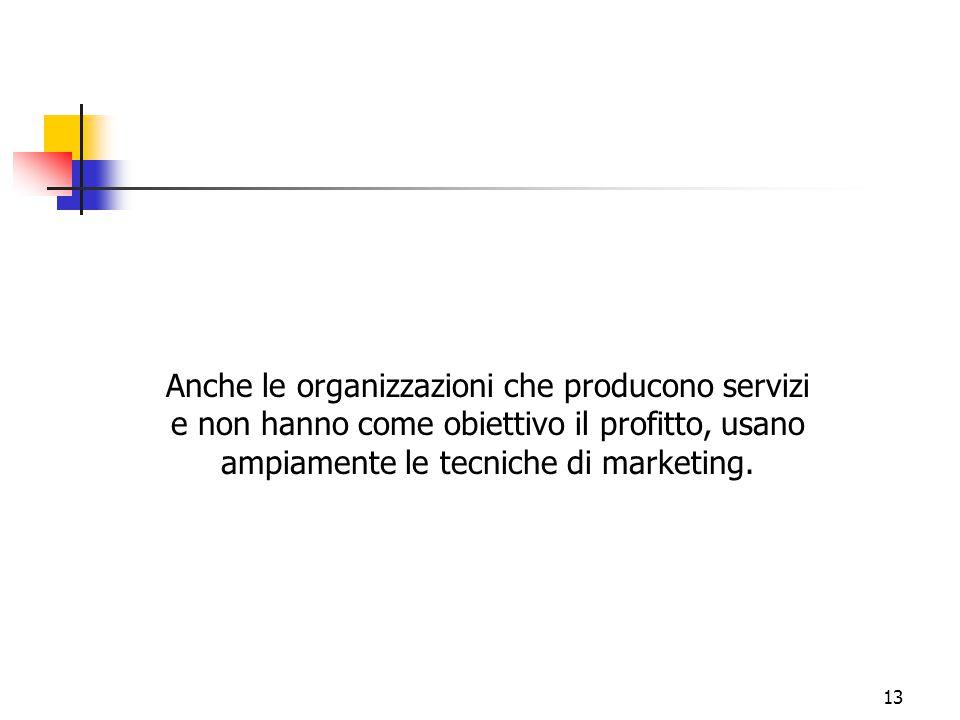 13 Anche le organizzazioni che producono servizi e non hanno come obiettivo il profitto, usano ampiamente le tecniche di marketing.
