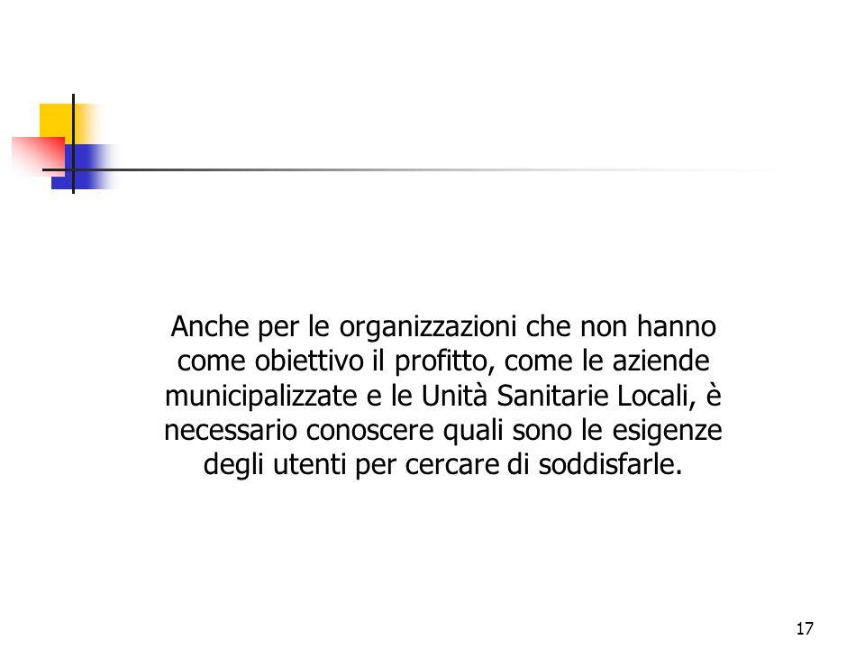 17 Anche per le organizzazioni che non hanno come obiettivo il profitto, come le aziende municipalizzate e le Unità Sanitarie Locali, è necessario con