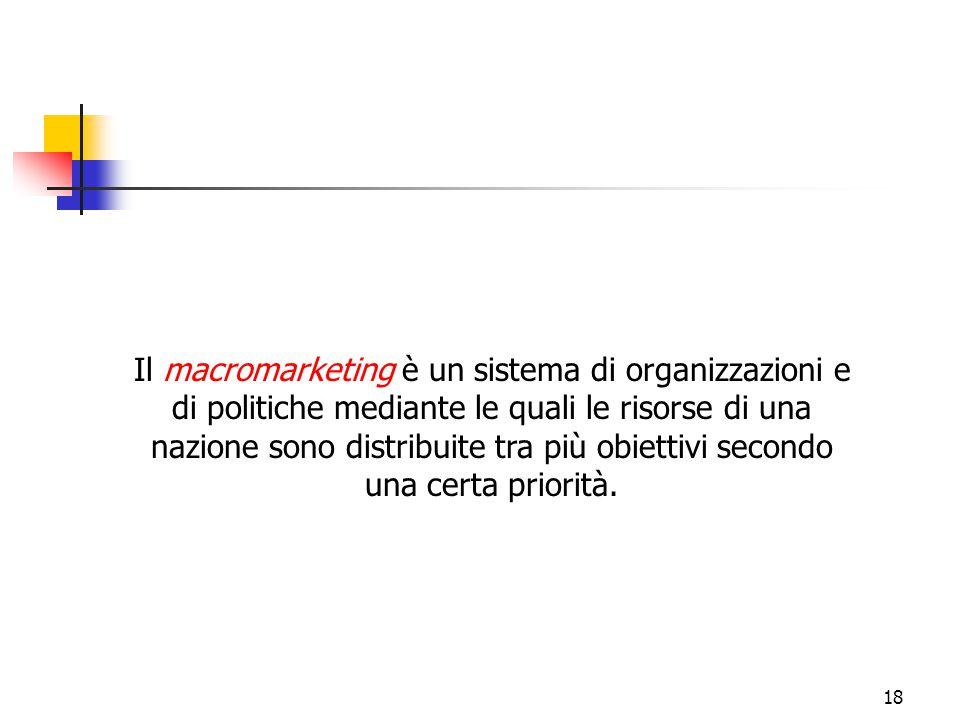 18 Il macromarketing è un sistema di organizzazioni e di politiche mediante le quali le risorse di una nazione sono distribuite tra più obiettivi seco