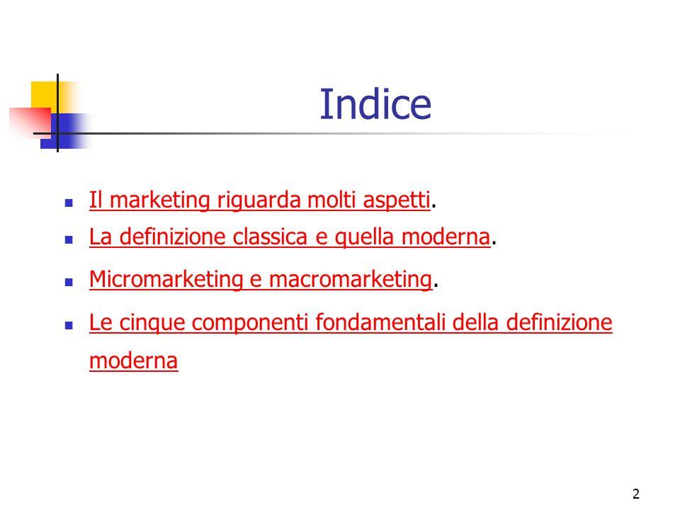 2 Indice Il marketing riguarda molti aspetti. Il marketing riguarda molti aspetti La definizione classica e quella moderna. La definizione classica e