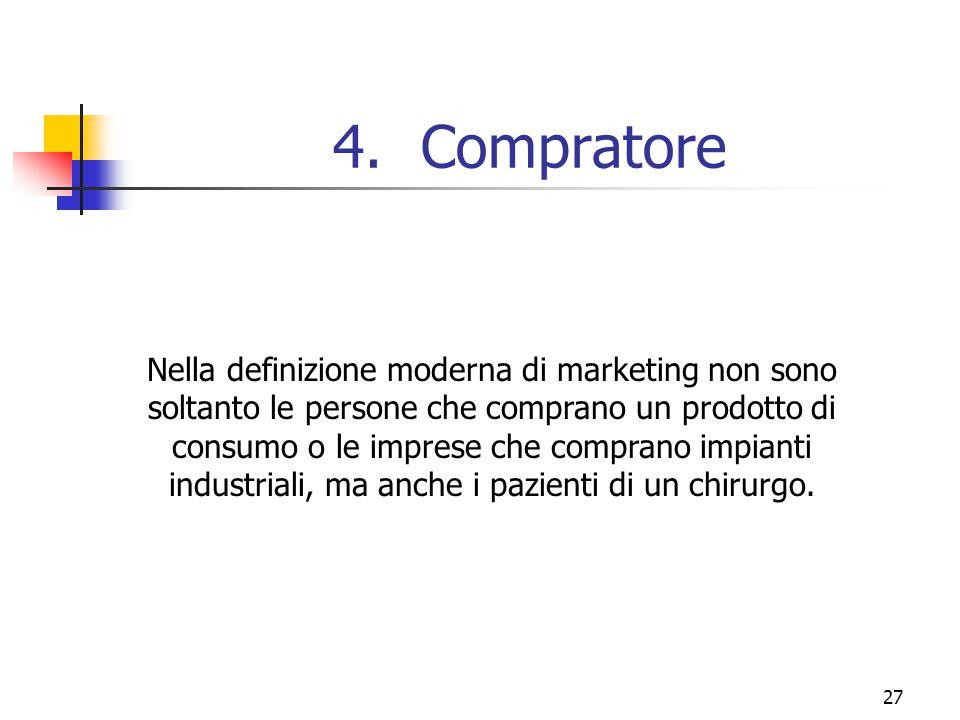 27 4.Compratore Nella definizione moderna di marketing non sono soltanto le persone che comprano un prodotto di consumo o le imprese che comprano impi