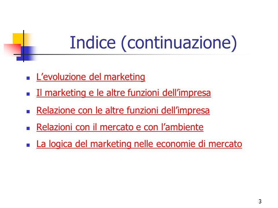 3 Indice (continuazione) L'evoluzione del marketing Il marketing e le altre funzioni dell'impresa Relazione con le altre funzioni dell'impresa Relazio