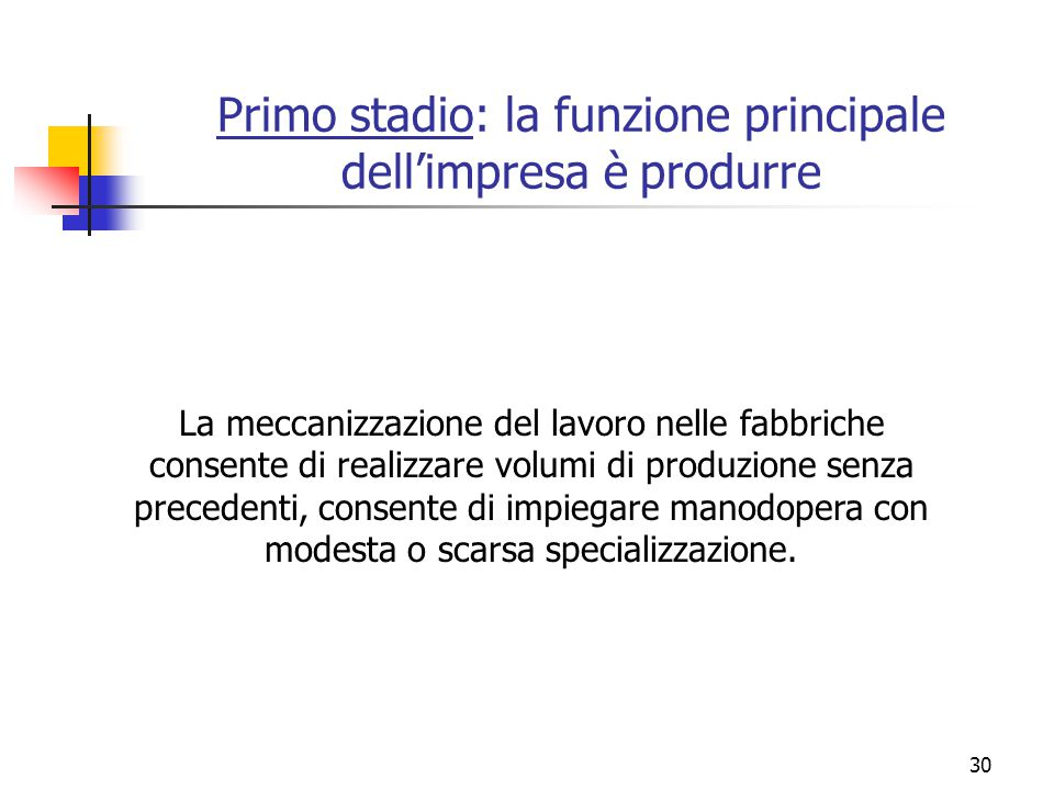 30 Primo stadio: la funzione principale dell'impresa è produrre La meccanizzazione del lavoro nelle fabbriche consente di realizzare volumi di produzi