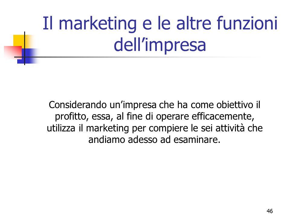 46 Il marketing e le altre funzioni dell'impresa Considerando un'impresa che ha come obiettivo il profitto, essa, al fine di operare efficacemente, ut