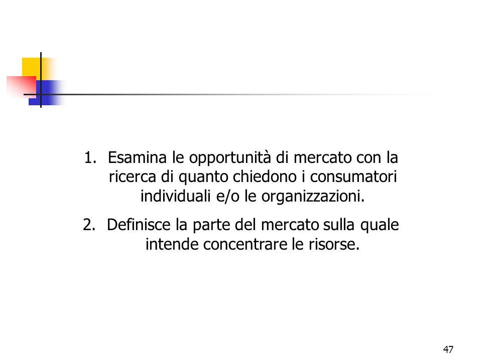 47 1.Esamina le opportunità di mercato con la ricerca di quanto chiedono i consumatori individuali e/o le organizzazioni. 2.Definisce la parte del mer
