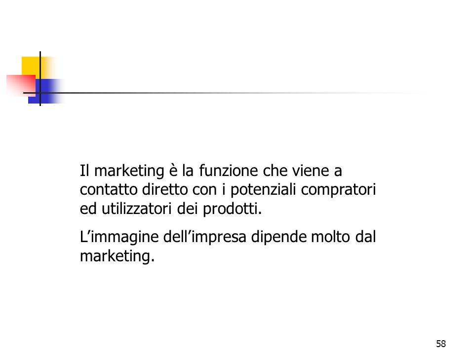 58 Il marketing è la funzione che viene a contatto diretto con i potenziali compratori ed utilizzatori dei prodotti. L'immagine dell'impresa dipende m