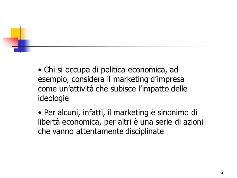 6 Chi si occupa di politica economica, ad esempio, considera il marketing d'impresa come un'attività che subisce l'impatto delle ideologie Per alcuni,