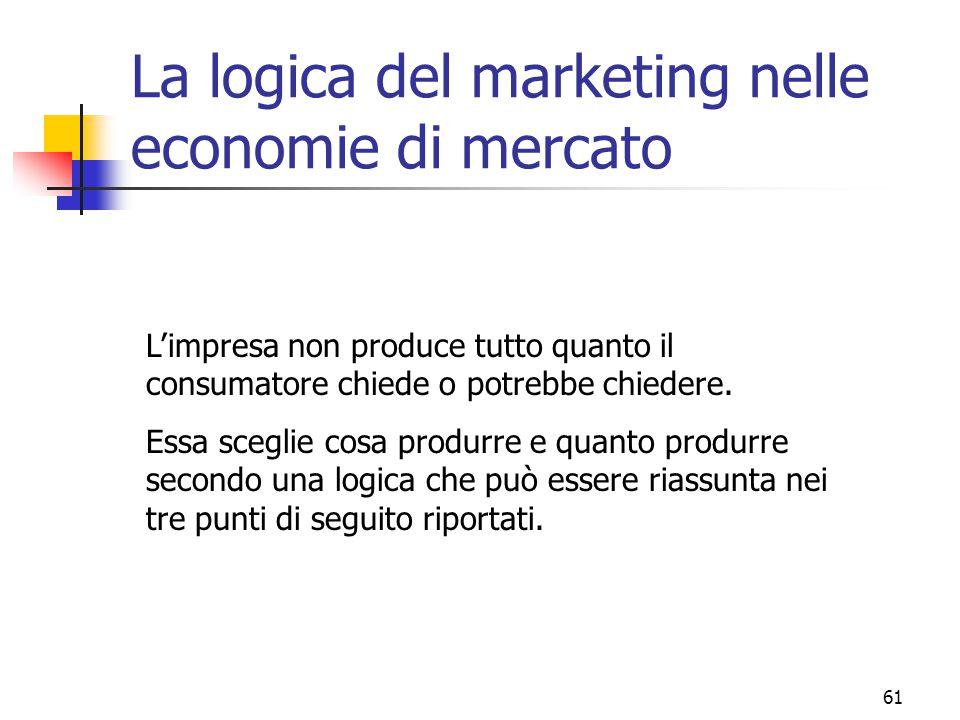 61 La logica del marketing nelle economie di mercato L'impresa non produce tutto quanto il consumatore chiede o potrebbe chiedere. Essa sceglie cosa p