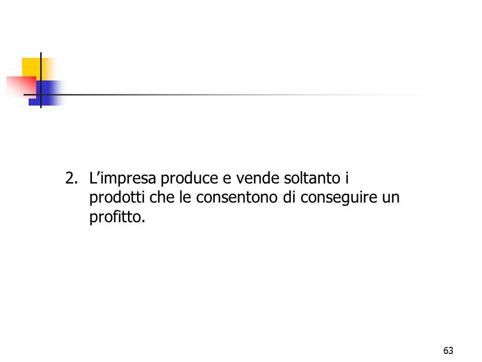 63 2.L'impresa produce e vende soltanto i prodotti che le consentono di conseguire un profitto.
