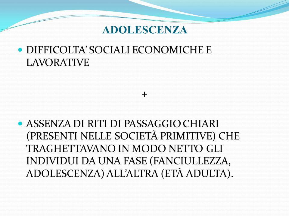 DIFFICOLTA' SOCIALI ECONOMICHE E LAVORATIVE + ASSENZA DI RITI DI PASSAGGIO CHIARI (PRESENTI NELLE SOCIETÀ PRIMITIVE) CHE TRAGHETTAVANO IN MODO NETTO G