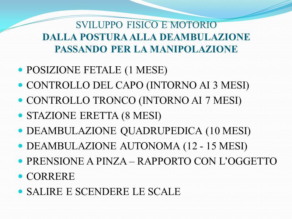 POSIZIONE FETALE (1 MESE) CONTROLLO DEL CAPO (INTORNO AI 3 MESI) CONTROLLO TRONCO (INTORNO AI 7 MESI) STAZIONE ERETTA (8 MESI) DEAMBULAZIONE QUADRUPEDICA (10 MESI) DEAMBULAZIONE AUTONOMA (12 - 15 MESI) PRENSIONE A PINZA – RAPPORTO CON L'OGGETTO CORRERE SALIRE E SCENDERE LE SCALE SVILUPPO FISICO E MOTORIO DALLA POSTURA ALLA DEAMBULAZIONE PASSANDO PER LA MANIPOLAZIONE