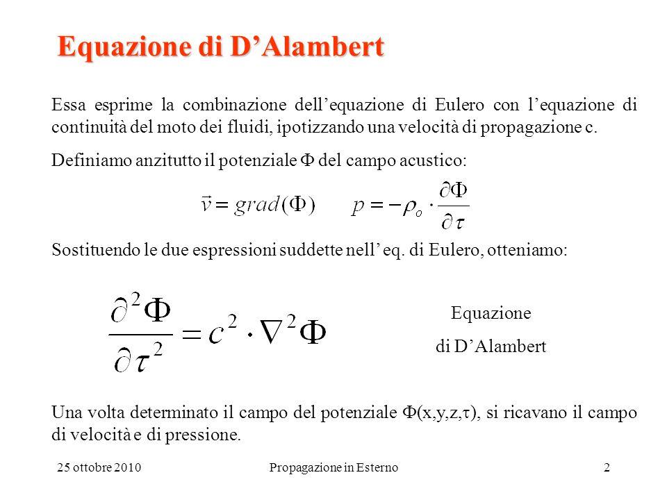 25 ottobre 2010Propagazione in Esterno3 Campo libero: equazione dell'onda sferica Si parte imponendo la condizione di velocità assegnata sulla superficie di una sfera pulsante di raggio R: v(R) = v max e i  Risolvendo l'equazione di D'Alambert per r > R, si ottiene: Ed infine, applicando la relazione di Eulero fra v e p, si ha: k =  /c numero d'onda