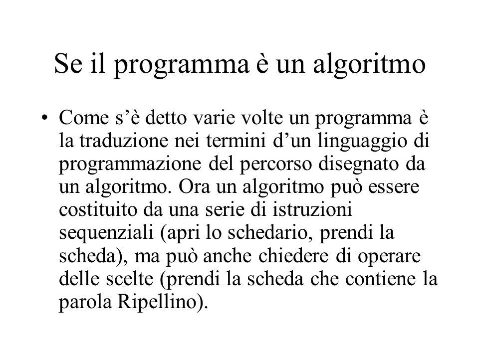 Se il programma è un algoritmo Come s'è detto varie volte un programma è la traduzione nei termini d'un linguaggio di programmazione del percorso disegnato da un algoritmo.