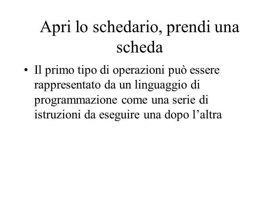 Apri lo schedario, prendi una scheda Il primo tipo di operazioni può essere rappresentato da un linguaggio di programmazione come una serie di istruzioni da eseguire una dopo l'altra