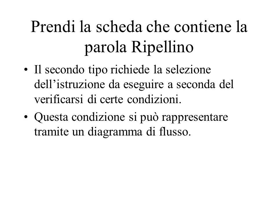 Prendi la scheda che contiene la parola Ripellino Il secondo tipo richiede la selezione dell'istruzione da eseguire a seconda del verificarsi di certe condizioni.