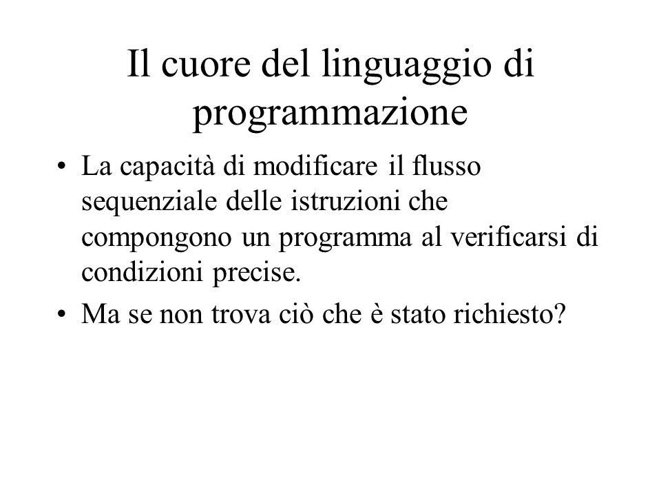 Il cuore del linguaggio di programmazione La capacità di modificare il flusso sequenziale delle istruzioni che compongono un programma al verificarsi
