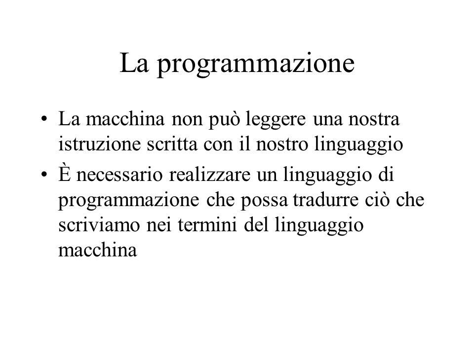 La programmazione La macchina non può leggere una nostra istruzione scritta con il nostro linguaggio È necessario realizzare un linguaggio di programmazione che possa tradurre ciò che scriviamo nei termini del linguaggio macchina