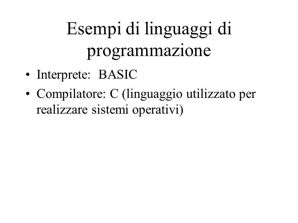 Esempi di linguaggi di programmazione Interprete: BASIC Compilatore: C (linguaggio utilizzato per realizzare sistemi operativi)