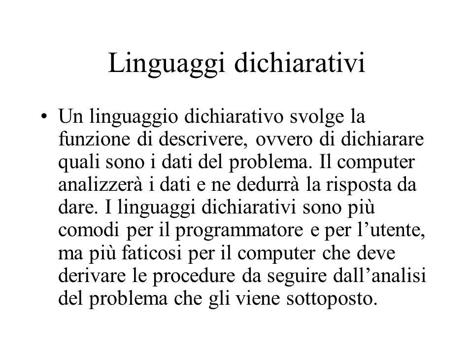 Linguaggi dichiarativi Un linguaggio dichiarativo svolge la funzione di descrivere, ovvero di dichiarare quali sono i dati del problema. Il computer a