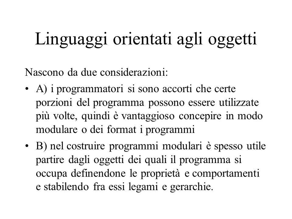 Linguaggi orientati agli oggetti Nascono da due considerazioni: A) i programmatori si sono accorti che certe porzioni del programma possono essere uti