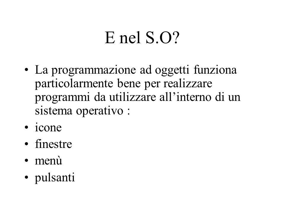 E nel S.O? La programmazione ad oggetti funziona particolarmente bene per realizzare programmi da utilizzare all'interno di un sistema operativo : ico