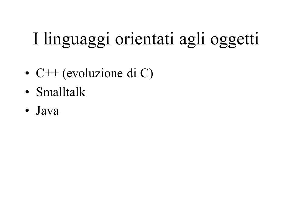 I linguaggi orientati agli oggetti C++ (evoluzione di C) Smalltalk Java