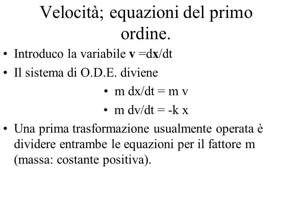 Velocità; equazioni del primo ordine. Introduco la variabile v =dx/dt Il sistema di O.D.E.